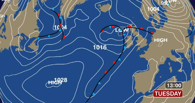 Latest Atlantic Pressure Chart [BBC]